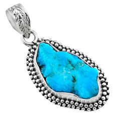 9.37cts natural raw sleeping beauty turquoise rough 925 silver pendant r66630