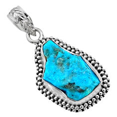 9.35cts natural raw sleeping beauty turquoise 925 silver pendant r66632