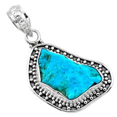 7.96cts natural raw sleeping beauty turquoise rough 925 silver pendant r66633