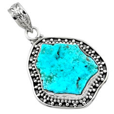 9.83cts natural raw sleeping beauty turquoise rough 925 silver pendant r66634