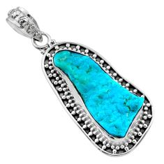 11.25cts natural raw sleeping beauty turquoise 925 silver pendant r66641