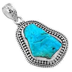 11.25cts natural raw sleeping beauty turquoise 925 silver pendant r66649