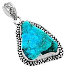 10.65cts natural raw sleeping beauty turquoise 925 silver pendant r66650