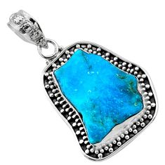 11.11cts natural raw sleeping beauty turquoise 925 silver pendant r66651