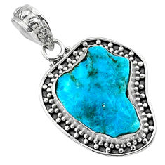 9.80cts natural raw sleeping beauty turquoise 925 silver pendant r66655