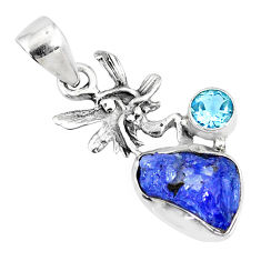 5.57cts natural raw tanzanite rough 925 silver angel wings fairy pendant r74053