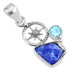 6.27cts natural raw tanzanite rough topaz 925 sterling silver pendant r74047
