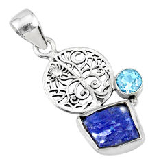6.43cts natural raw tanzanite rough topaz 925 sterling silver pendant r74048