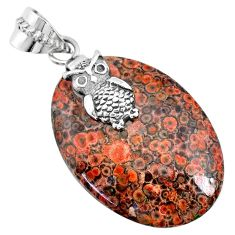 22.14cts natural red birds eye 925 sterling silver owl handmade pendant r74521