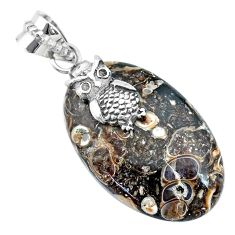 21.05cts natural red birds eye 925 sterling silver owl handmade pendant r74530