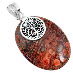 29.60cts natural red birds eye 925 silver handmade pendant r74524