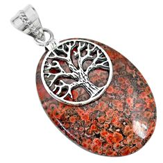 32.10cts natural red birds eye 925 sterling silver tree of life pendant r74522