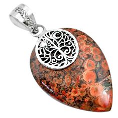 22.88cts natural red birds eye pear 925 silver handmade pendant r74525