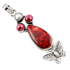 Clearance Sale- 19.56cts natural red bloodstone african 925 silver butterfly pendant d44141