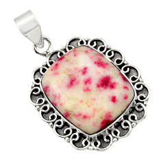 18.63cts natural red cinnabar spanish 925 sterling silver pendant jewelry r31849