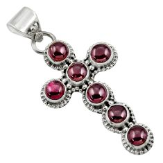 6.42cts natural red garnet 925 sterling silver holy cross pendant jewelry r48026