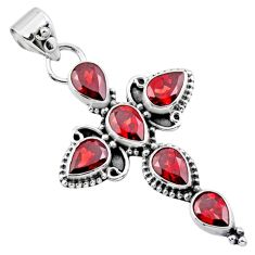 9.99cts natural red garnet 925 sterling silver holy cross pendant jewelry r55851