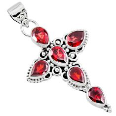 6.83cts natural red garnet 925 sterling silver holy cross pendant jewelry r55973