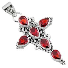 6.76cts natural red garnet 925 sterling silver holy cross pendant jewelry r55975