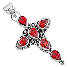 6.83cts natural red garnet 925 sterling silver holy cross pendant jewelry r65025