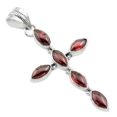 9.18cts natural red garnet 925 sterling silver holy cross pendant jewelry t52870