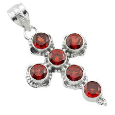 5.76cts natural red garnet 925 sterling silver holy cross pendant jewelry t52935
