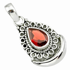 2.17cts natural red garnet 925 sterling silver moon pendant jewelry r89389