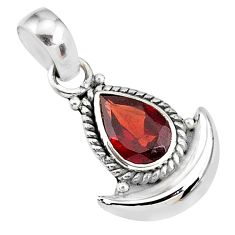 2.26cts natural red garnet 925 sterling silver moon pendant jewelry r89526
