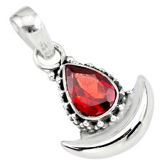 2.22cts natural red garnet 925 sterling silver moon pendant jewelry r89568
