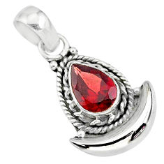 2.35cts natural red garnet 925 sterling silver moon pendant jewelry r89588