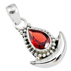 2.56cts natural red garnet 925 sterling silver moon pendant r89442
