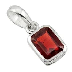 2.23cts natural red garnet 925 sterling silver pendant jewelry r43478