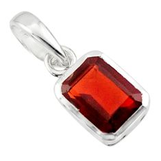 1.85cts natural red garnet 925 sterling silver pendant jewelry r43497