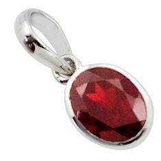 2.95cts natural red garnet 925 sterling silver pendant jewelry r45572