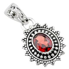 2.46cts natural red garnet 925 sterling silver pendant jewelry t30490