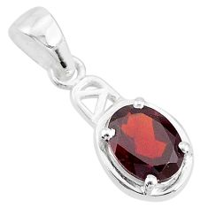 1.79cts natural red garnet 925 sterling silver handmade pendant t7938