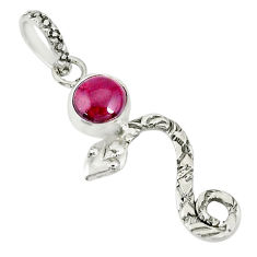 1.31cts natural red garnet 925 sterling silver snake pendant jewelry r78401