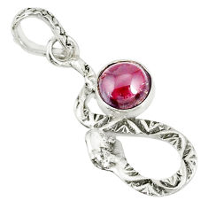2.36cts natural red garnet 925 sterling silver snake pendant jewelry r78522