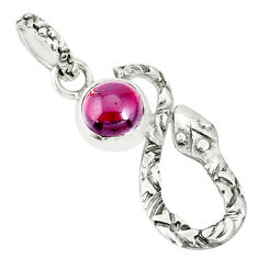 2.56cts natural red garnet 925 sterling silver snake pendant jewelry r78574