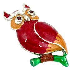 Natural red garnet enamel 925 sterling silver owl pendant jewelry c16937