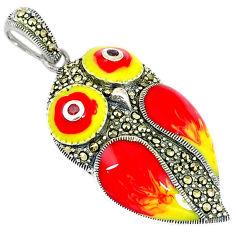 Natural red garnet marcasite enamel 925 sterling silver owl pendant c16628