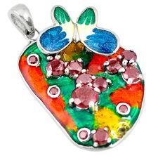 Natural red garnet multi color enamel 925 silver butterfly pendant c21839