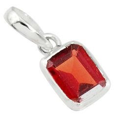 1.89cts natural red garnet octagan 925 sterling silver pendant jewelry r70553