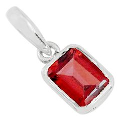 2.22cts natural red garnet octagan 925 sterling silver pendant jewelry r70575
