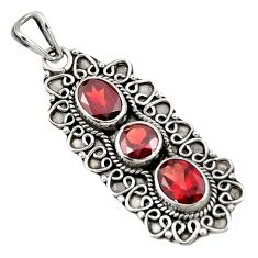 Clearance Sale- 5.13cts natural red garnet oval 925 sterling silver pendant jewelry d39281