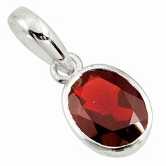 3.15cts natural red garnet oval 925 sterling silver pendant jewelry r27409