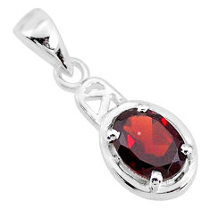 1.86cts natural red garnet oval 925 sterling silver handmade pendant t7907