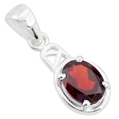1.85cts natural red garnet oval 925 sterling silver handmade pendant t7934