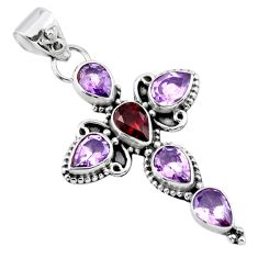 9.99cts natural red garnet purple amethyst 925 silver holy cross pendant r55847
