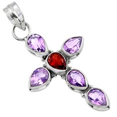 6.76cts natural red garnet purple amethyst 925 silver holy cross pendant r55897
